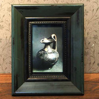 One Panel   Solid wood antique photo frame European frame Hanging picture Blackish green rectangle 20.3 25.3 cm