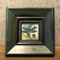 One Panel Animal Framed Solid wood antique photo frame European frame Hanging picture Blackish green square 17.5cm
