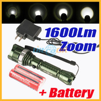 Wholesale 1600 lumen CREE XM L T6 LED Zoom Adjustable Focus Aluminum alloy Flashlight Torch Charger Battery