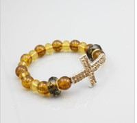 Women Bracelet Shambhala Cross Handmade DIY Yellow Pearls Lu...