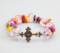 Women Bracelet Shambhala Cross Handmade DIY Pink Pearls Luck...