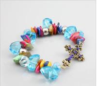 Women Bracelet Shambhala Cross Handmade DIY Blue Pearls Luck...