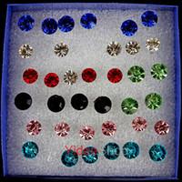 ear piercing studs - 576pcs Fahison Earings Studs Mixed Plastic Colorful Rhinstone piercing Earring Rings Ear Nail