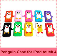 Wholesale Free Penguins Soft Silicon Back Cover Cell Phone Case for ipod Touch