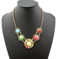 Wholesale New Bohemia Vintage Gold Metal Colorful Resin Sunflower Gem Choker Necklace women s