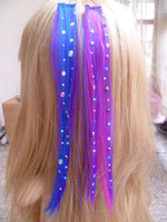 Wholesale 100Pcs Synthetic Feather Hair Extension With Clip Hair Embonded with Color Shiny Men Made Diamond