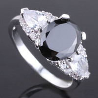 Women's Gift 7 Royal Women'S Band Finger Silver Ring Size 7 Oval Black Onyx Stone Clear Pear Topaz Yin J7380