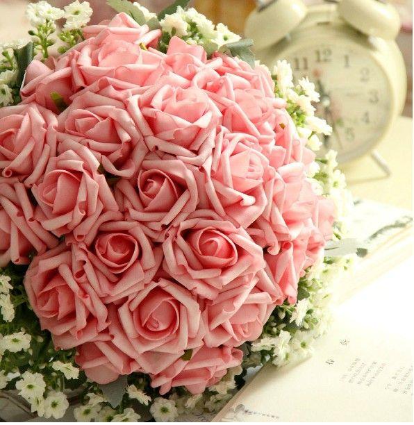 Wedding Bouquet Artificial Pink Rose Flowers ,Bridal Throw Bouquet ...