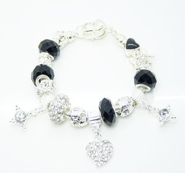 New 925 Silver Bracelet Black European Crystal Beads Fit Rhinestone Bead Heart Charms Bracelet 12pcs