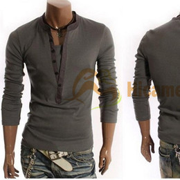 Wholesale New Style Men s T Shirt Long Sleeve V Collar M L XL Casual Dress For amp Retail