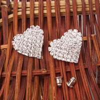 Stud asian material - US Seller Rhinestone Stud Earrings Peach Heart Shape Silver Alloy and Rhinestone Material Pairs S01633
