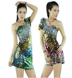 Wholesale 5 Colors Stage Clothing Latin dance Costume Full Sequins one shoulder mini dresses