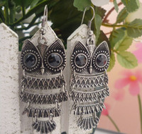 Wholesale 12pairs Owl Long Earrings Retro Exaggeration Cute Dangle Chandelier Earring Popular Style
