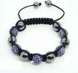 Handmade Fashion 10mm Light Purple Disco Ball Crystal Beads Fit Magnetite Ball Bracelet 20pcs