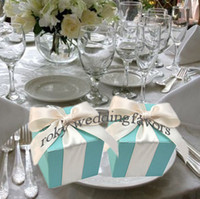 Wholesale Tiffany Blue Colors Square Wedding Favors Boxes with Satin Ribbon