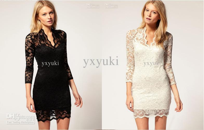 Hot Occident Evening Dress For Women Casual Lace Pencil Dress ...