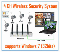Wholesale 4 CH Wireless IR Night Vision Outdoor Waterproof Cameras DVR Receiver kit System with USB interface