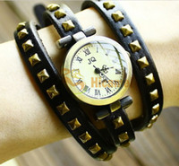 Wholesale New Fashion Lady Watch Quartz Fashion Rivet Design Archaistic Three Circles Band Round