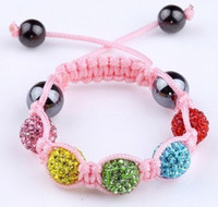 Wholesale Hot Kids Crystal Bracelet mm Colorful Disco Ball Crystal Beads Childrens Bracelet