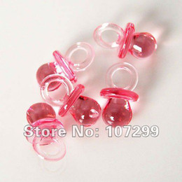 Free shipping-500pcs Clear Red Mini Acrylic Baby Pacifier Baby Shower Favors~Cute Charm-Wholesale