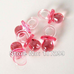 Free shipping-100pcs Mini Acrylic Clear Red Baby Pacifier Baby Shower Favors~Cute Charm-New Arrival