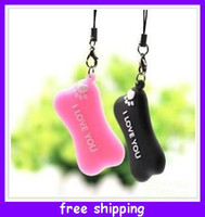 pink black white   New Cheap wholesale couple lovers mobile phone pendant Accessories dog bone ( a pair ) free shipping