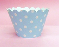 Wholesale inch cupcake wrappers cake cup cake Surrounding edge blue with white dot