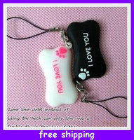 pink black white   New Cheap wholesale couple lovers mobile phone pendants Accessories dogs bone ( a pair ) hot selling