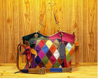 Wholesale 2012 new leather handbag fashion Lingge color stitching flower chain Shoulder Satchel Bag