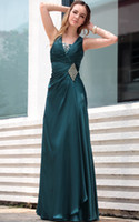 Wholesale V Neck Heavy Silk Stretch Satin Formal Dresses