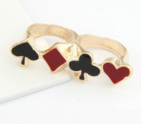Unisex anniversary card designs - Card Design Double Fingers Ring Fashion Gold Tone Black Red Enamel Poker unisex jewelry