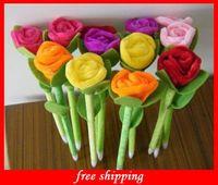 Wholesale Hot Realistic Plush Rose Pen Wedding Necessity Novelty Flower Ball Pen Best Creative For Decoration