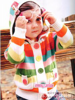 Wholesale Hot sale baby Cardigan colorful stripe hooded cute red and blue