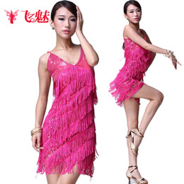 Wholesale 2012 New Women s Dress Dancing Sequined Suspenders Tassel Colors Latin Skirt Women s Dress FMWD