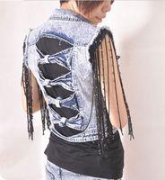 Wholesale New Retro Cowboy hollow Womens Denim Vest Ladies Chic Jean Waistcoat Fashion