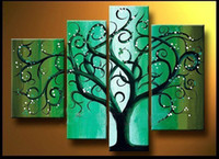 More Panel Oil Painting Abstract Green tree - 4 Panel huge wall decor art oil painting 100% Handpainted on canvas