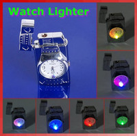 Livraison gratuite LED colorée Falsh Light Watch Flip Top Jet Flame à l'épreuve du tabac coupe-vent