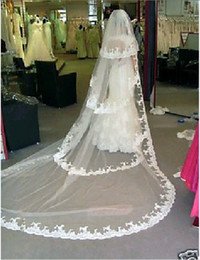 Wholesale 2T Four Ways Ivory White Wedding Bridal Trailing M Veil Lace Edge JL504 Comb