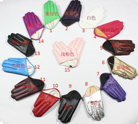 Wholesale Half palm short faux leather manicure points half fashion PU gloves Sex and the City with style