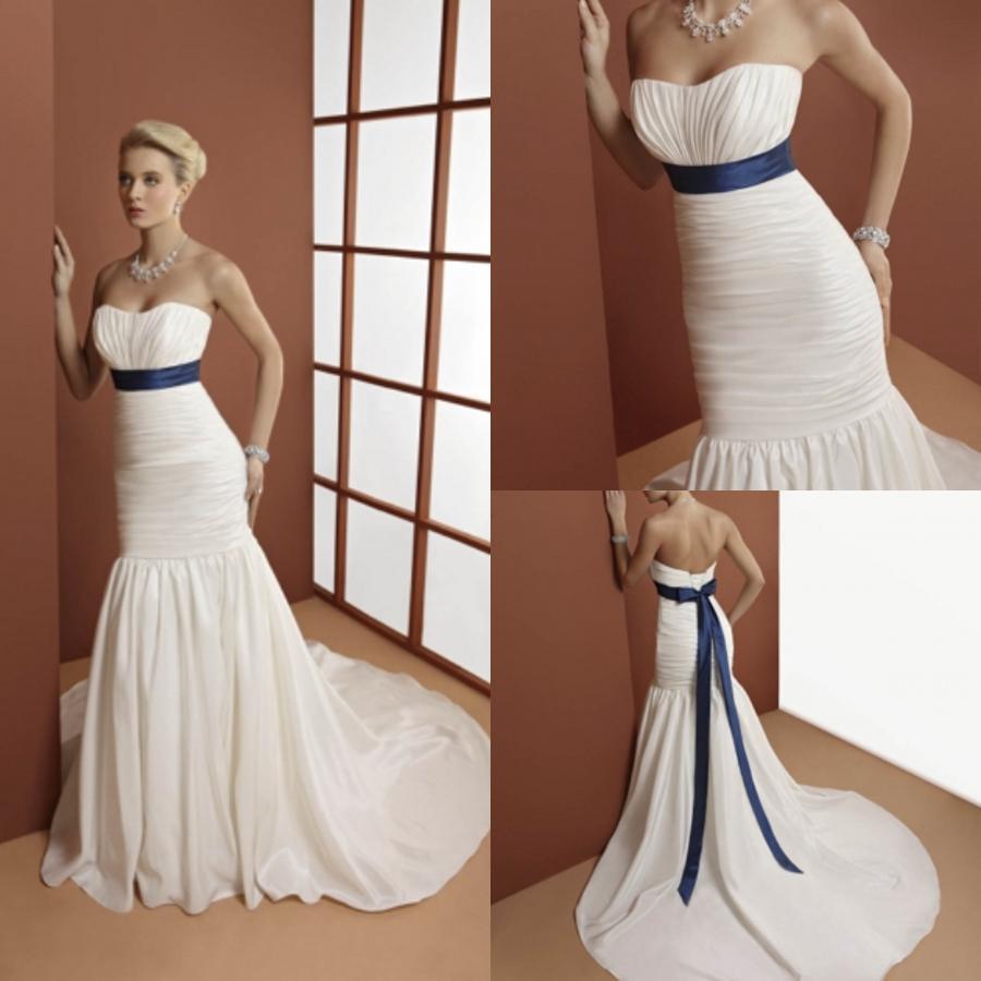 1 bp blogspot wedding dresses with blue Blue belt ribbon ruched mermaid ivory wedding dresses bridal dresses