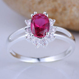 Simple Style Oval 3X5 Ruby Red Cubic Zirconia Cute Lady Engagement Silver Rings Multiple Sizes & Color for Choice R076