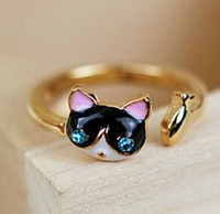 Wholesale Fashion Style Gold Plated Fish Glazed Rhinestone Eye Cat Ring Opened women s jewelry