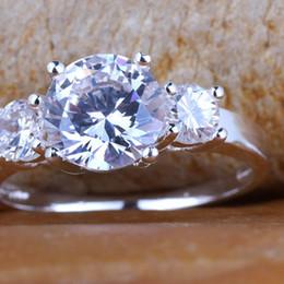 Royal Women Band Finger Silver Ring Size 8 Round Clear White Topaz Yin J7364