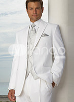 Wool Blend Reference Images Two-Button White Groom Tuxedos Men's Wedding Dress suits Prom Clothing (Jacket+pants+tie+vest) A 3175