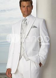 Wholesale White Groom Tuxedos Men s Wedding Dress suits Prom Clothing Jacket pants tie vest A