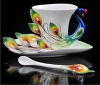 Ceramic beautiful coffee mugs - sarmit Super quality beautiful chinese ceramic coffee cup Enamel porcelain mug cup dropship