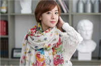 Wholesale 2012 summer women new shawl broken flowers beautiful women long scarf beach towel