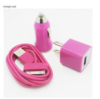 Wholesale Car Vehicle Charger USB Data Charger Cable Cord Wall Charger Adaptor for iPodTouch iPhone G S
