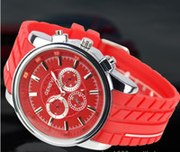 Wholesale Shiny Color Geneva Watch No Diamond Red Second Hand circle Elegant Men Women Free ship