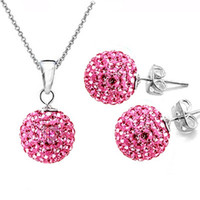 Wholesale Hot sale New fashion Sets Shamballa Disco Ball Crystal Bead Dangler Earring Necklace
